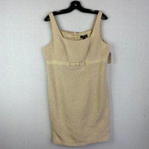 TAHARI Champaign Gold Textured Dress NWT